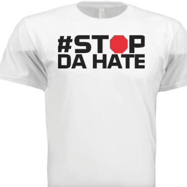 White stop hate men shirt