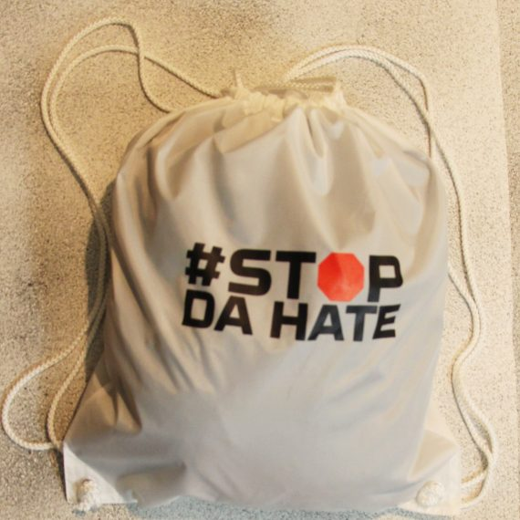 Drawstring Backpack 'All White with Black'